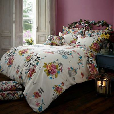 Sweet Vintage King Size Duvet Cover Set Reversible Floral Bedding