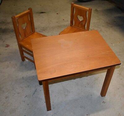 Childs Wooden Table & 2 Chairs