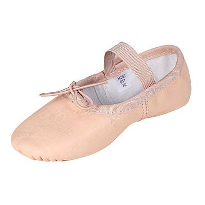 Pure Leather Peach Color Ballet Gray Full Sole Dancing Shoes