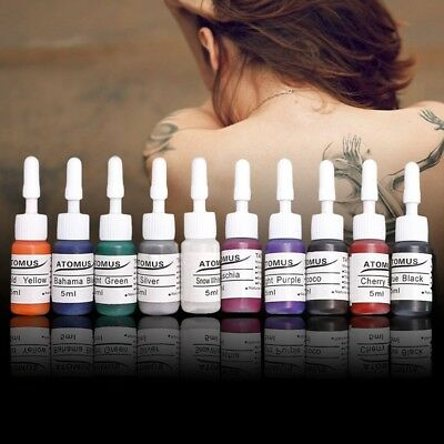 10 Color No-fade Tattoo Ink Set 5ml/Bottle Tattoo Machine Pigment Supply Kit New