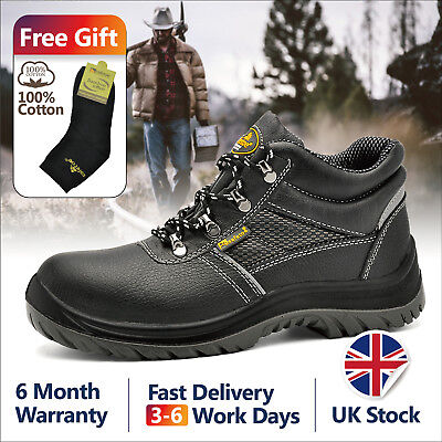 Safetoe Safety Boots Mens Work Shoes Steel Toe Cap Black Leather UK Size