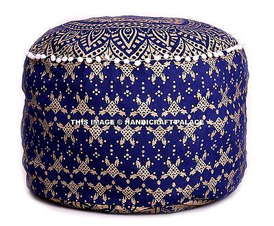 Indian Foot Stool Ottoman Round Cotton Pouf Ombre Mandala Floor Pillow Cover 22""