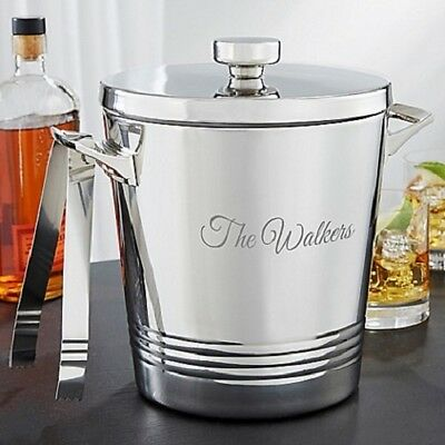 Ice Bucket Stainless Steel Double Wall w/ Tong Wine Champagne 1 Gallon Capacity