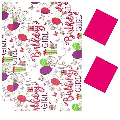 2 Sheets Gift Wrapping Paper With Tags 50cm X 70cm Happy Birthday Girl D29