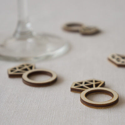 Wedding table confetti rustic boho wood diamond ring engagement party L71