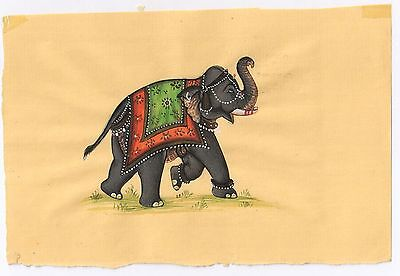 Indian Miniature Ethnic Handmade Elephant Hanging Painting Watercolor Painting