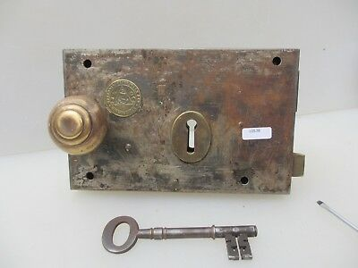 Victorian Iron Door Lock Latch Brass Knobs Plaque Architectural Antique Old Bolt