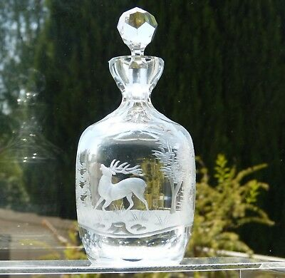Vintage Antique Heavy Small SPIRIT Cut CRYSTAL DECANTER Etched STAG Pictorial