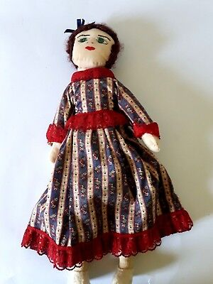 Vintage Doll Green Button Eyes Handmade Wooly Curly Hair Felt Shoes Cloth