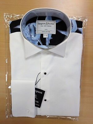 Simpson & Ruxton White Cotton Party Marcella Shark Printed Formal Dress Shirt