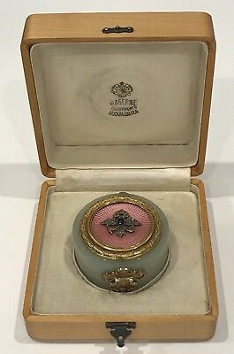 Rare! Antique Faberge Russian Imperial Jeweled Cabochon Enamel Box Signed