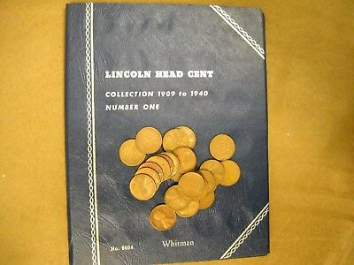 25 Different Pre-1940 Lincoln Wheat Cents P D S & Whitman Coin Folder FREE Ship