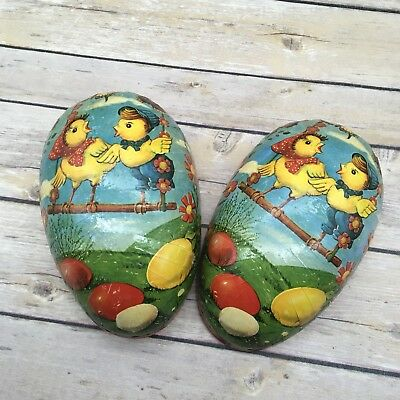 "Vintage Decoupage Paper Mache Easter Egg 6.5""  Made in West Germany"