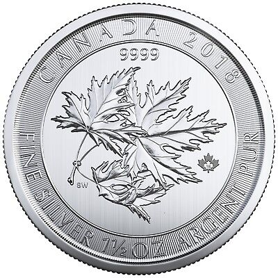 2018 $8 Silver Canadian Maple Leaf 1.5 oz .9999 fine Silver RCM SuperLeaf