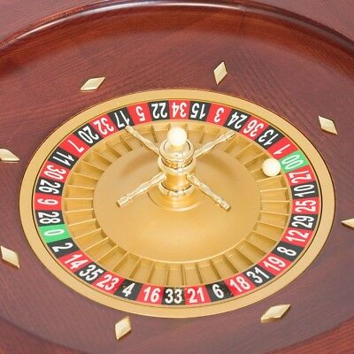 Roulette Wheel 20 inch Satin Mahogany with Gold Finish Turret