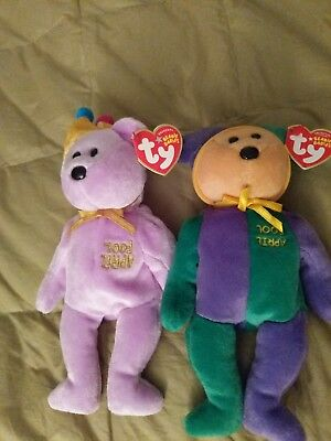 ty beanie babies Jokester & April Fool 2 spring themed collectors edition