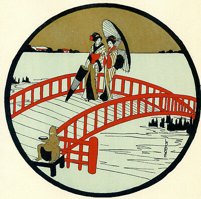 1930s French Pochoir Print Art Deco LAFUGIE Japanese Geisha On Red Bridge