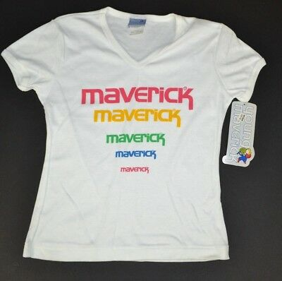 Vtg 1980's Maverick Blue Bell Girls Color Logo V-Neck T-Shirt, White M 10-12 NOS