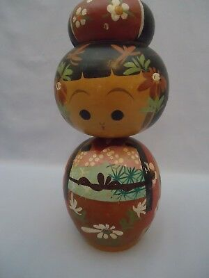 AS IS w paint loss Vintage Japanese Wooden Woman Kokeshi Doll 8 inches tall
