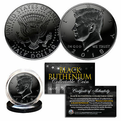 2018 BLACK RUTHENIUM JFK Kennedy Half Dollar U.S. Coin w/COA (Philadelphia Mint)