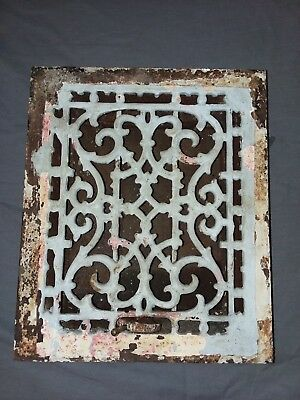 Antique Cast Iron Floor Wall Heat Grate 12x10 Louvres Victorian Design  98-18F
