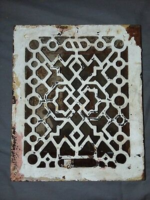 Antique Cast Iron Floor Wall Heat Grate 12x10 Louvres Victorian Design  99-18F