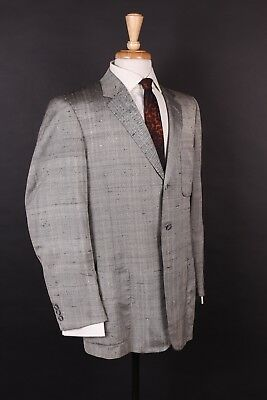 Vtg 60S 100% Silk Sharkskin 3 Button Suit Usa Mens Size 42