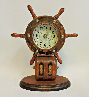 Vintage Wood Nautical Ship Wheel Pulley Mantel Table Clock 10.5""