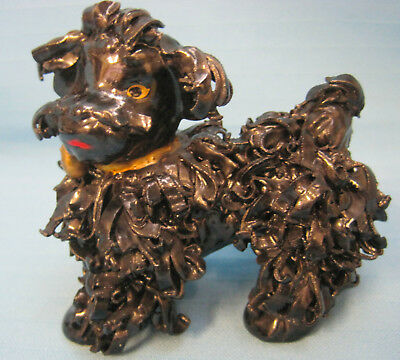 Poodle Dog Figurine Spaghetti Porcelain Collectible Vintage Black 4""