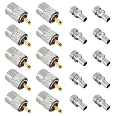 10 X PL259 UHF Connector Male Plug With Reducer for RG8X Coaxial Cable +Tube CS