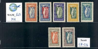 WAM_649. LITHUANIA. 1921 OPENING AIR MAIL SERVICE air set. Scott C8-C14. Mint