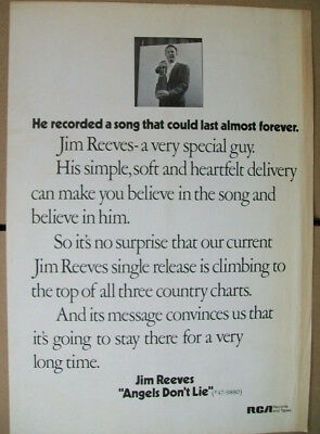 Jim Reeves 1970 Ad- Angels Don't Lie  RCA