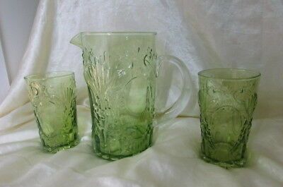 Vintage Portuguese Hand Made Water Jug & 2 Glasses