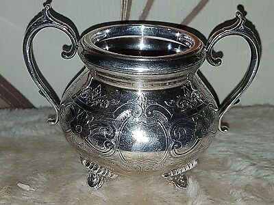 Antique / Vintage  Silver Plated Twin Handle Ornately Engraved Sugar Bowl