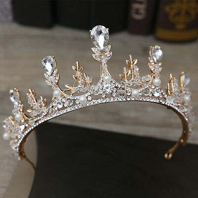Baroque Sparkling Handmade Crystal Rhinestone Wedding Crown Party Tiara Headband