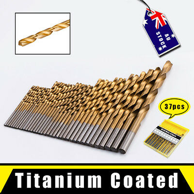 37pcs Twist Drill Bit Set Titanium Coated for Wood Plastic Metal Metric 2-6.5mm