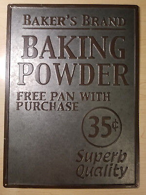 Vintage Embossed Metal Baker's Brand Baking Powder Advertising Wall Sign