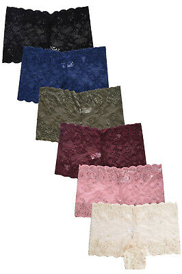 Pack Lot 6 or 12 Women Boxer Cheeky Lace Boyshorts Panty Underwear S M L XL
