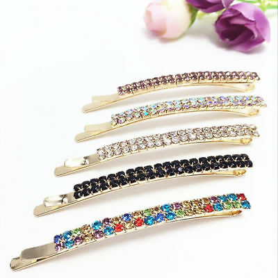 Vintage Crystal Rhinestone Hair Clip Barrette Hairpin Bobby Pin Women's Jewelry