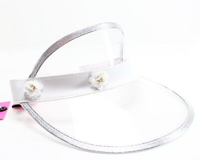 BETSEY JOHNSON NEW Silver White Floral Clear One Size Women's Visor Hat $42 #583