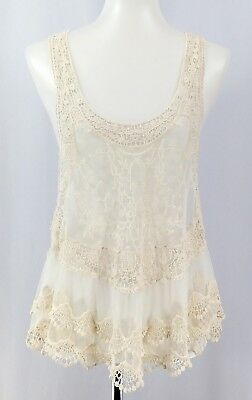 SIS SIS Womens White Floral Crochet Mesh Sheer Lingerie Negligee Top Size M T259