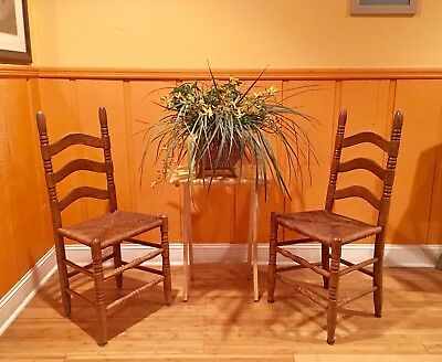 Beautiful Antique Vintage French Country Pair Ladder Back Rush Seat Chairs
