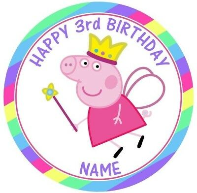 Peppa Pig Personalised Edible Icing Cake Topper 19cm PRE-CUT