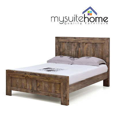 Boston Solid Recycled Pine Timber Double/Queen/King Size Bed Frame with Slats