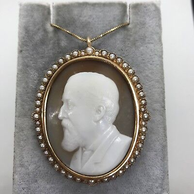 Antique 14k yellow gold carved shell cameo left man pearl brooch pendant pin 23g
