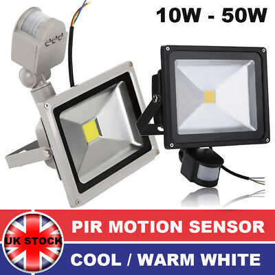 LED Floodlight PIR 10W 20W 30W 50W Motion Sensor Outdoor Security Flood Light UK