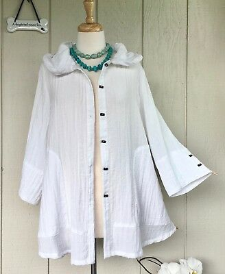 012e99234b3 M IC Collection Connie K White Wired Collar Cotton Nyl Tunic Shirt Jacket  Damee