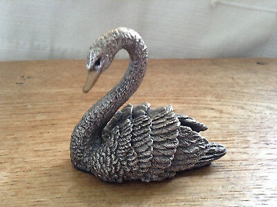Nice Detail 1993 Country Artists Hallmarked Silver filled Swan Sculpture