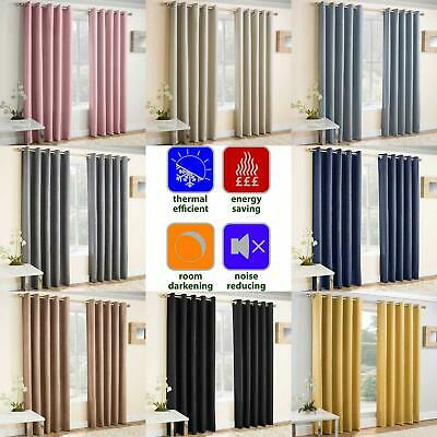 Blockout Eyelet Curtains Vogue Energy Saving Thermal Ring Top Curtain Pairs