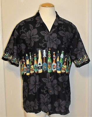 Vintage Men's KY'S Hawaii Beer Bottle Print Cotton Made In Hawaii Shirt Size XL